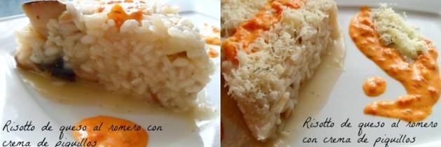 Risotto de queso al romero con crema de piquillos