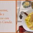 Espaguetis de surimi, espárragos blancos y queso curado con salsa de cúrcuma y canela