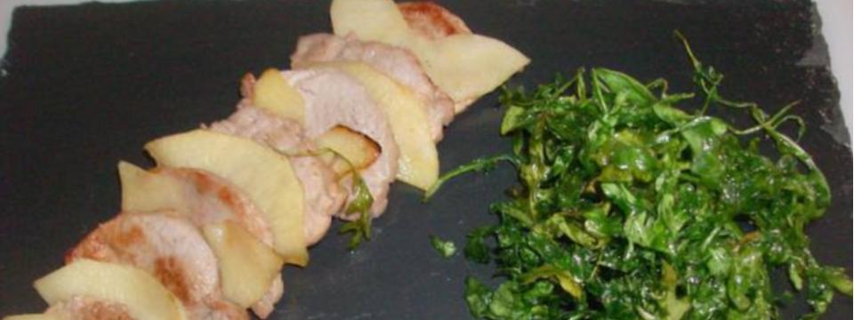 Solomillo con Manzana y salsa de queso envejecido en manteca